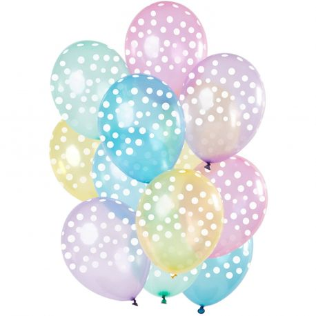Bouquet 15 ballons transparent pastel à pois blancDimension des ballons Ø30cm