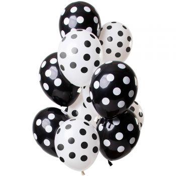 Bouquet 12 ballons à pois noir et blanc