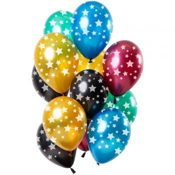 Bouquet 12 ballons multicolore métallisés étoiles