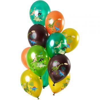 Bouquet 12 ballons multicolore métallisés dinosaures