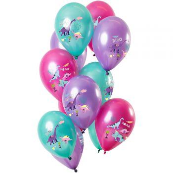 Bouquet 12 ballons métallisés dinosaures violet
