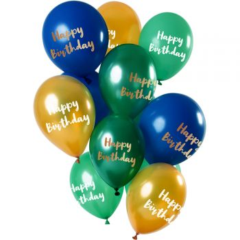 Bouquet 12 ballons Happy Birthday or vert bleu