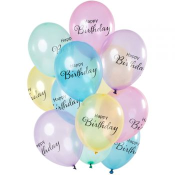 Bouquet 12 ballons transparent pastel Happy Birthday