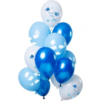 Bouquet 12 ballons It's a boy tons bleu