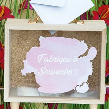 Urne en bois transparente Fabrique à souvenirs !! rose