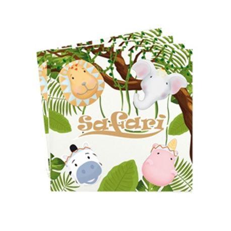 20 Serviettes en papier décor animaux safari pour une belle décoration de table d'anniversaireDimensions: 33cm x 33cm / 16.5cm...