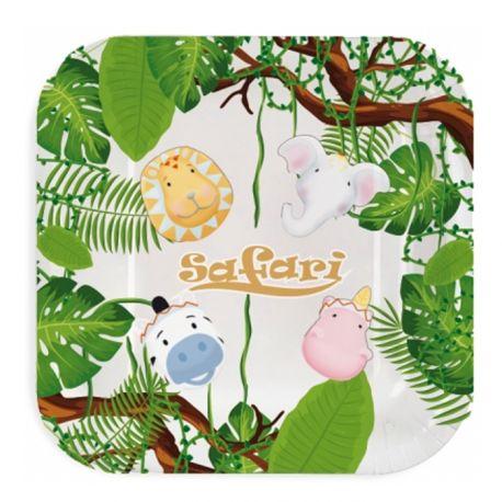 8 assiettes en carton décor Animaux Safari pour une belle décoration de table d'anniversaireDimensions: 23cm x 23cm