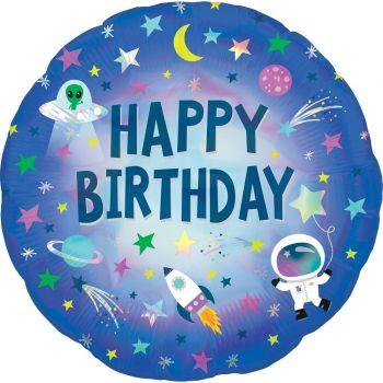 Ballon hélium espace Happy Birthday holographique