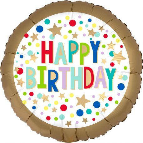 Superbe ballon hélium Happy Birthday doré et multicolore pour une super déco d'anniversaireA gonfler avec hélium pour qu'il flotte...