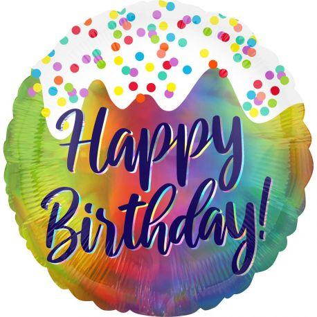 Superbe ballon hélium Happy Birthday frosting pour une super déco d'anniversaireA gonfler avec hélium pour qu'il flotte ou sans, à...