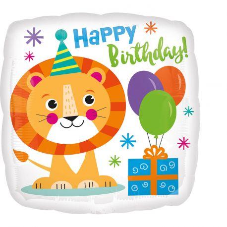 Superbe ballon rond lion en aluminium pour une déco anniversaire sur le thème jungle safariA gonfler à l'hélium pour qu'il flotte en...