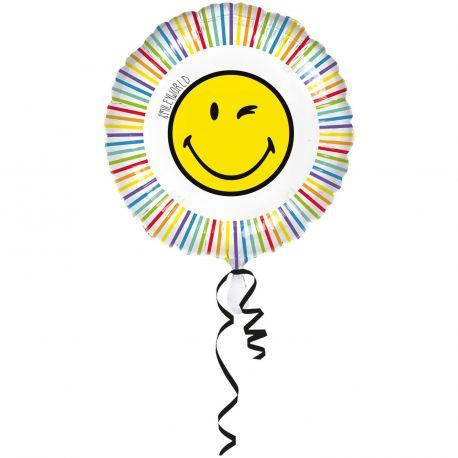 Ballon en aluminium rond Smiley pour la deco de votre anniversaire. Pouvant être gonflé avec ou sans hélium à l'aide d'une paille...