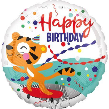 Superbe ballon rond Happy Birthday tigre en aluminium pour une déco anniversaire sur le thème de la jungle safariA gonfler à...