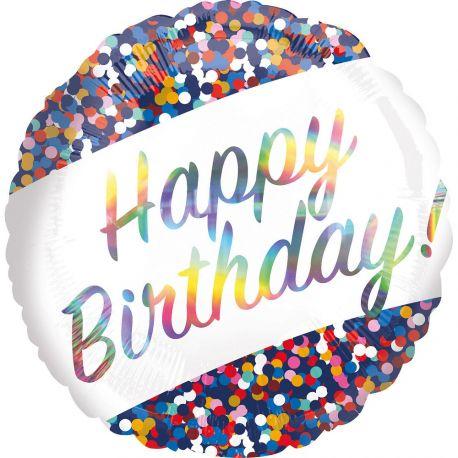 Superbe ballon hélium Happy Birthday confettis irisés et multicolore pour une super déco d'anniversaireA gonfler avec hélium pour...