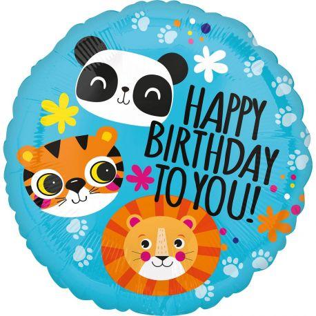 Superbe ballon rond Happy Birthday safari en aluminium pour une déco anniversaire sur le thème de la jungle safariA gonfler à...