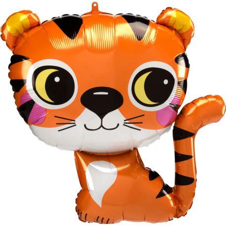 Superbe ballon en aluminium en forme de tigre pour une déco anniversaire sur le thème jungle safariPeut être gonflé sans hélium à...