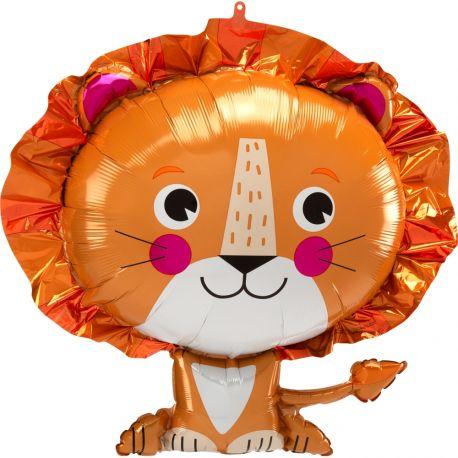 Superbe ballon en aluminium en forme de lion pour une déco anniversaire sur le thème jungle safariPeut être gonflé sans hélium à...