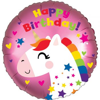 Ballon hélium Happy birthday licorne rose 43cm