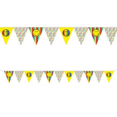 Nappe Smiley en papier pour décorer la table de vos anniversaires.Dimensions : 140 cm x 180 cm