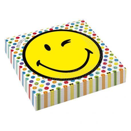 16 Serviettes en papier à l'effigie des smileyworld pour votre déco de table d'anniversaireDimensions : 33 x 33 cm
