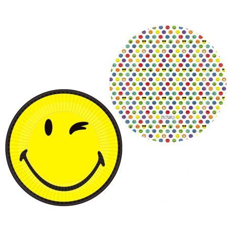 8 en carton à l'effigie des smileyworld pour votre déco de table d'anniversaireDimensions : Ø23 cm
