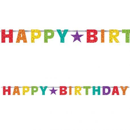 Banderole Happy Birthday métallisée aux couleurs de l'arc en ciel pour une décoration d'anniversaireDimensions: 240cm