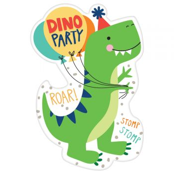8 cartes invitations dino festif