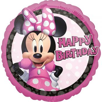 Ballon hélium rond Happy Birthday Minnie Forever