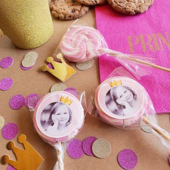 10 Sucettes foraines personnalisées décor Princesse