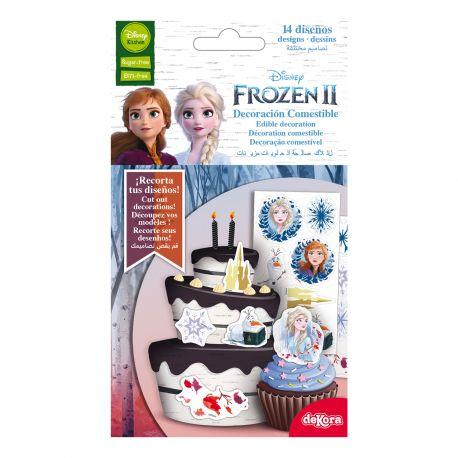 Assortiment de 14 décors comestibles sur le thème de La Reine des Neiges 2 en azyme alimentaire à découper et à poser sur vos...