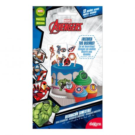 Assortiment de 13 décors comestibles sur le thème de Avengers en azyme alimentaire à découper et à poser sur vos gourmandisesPoids...