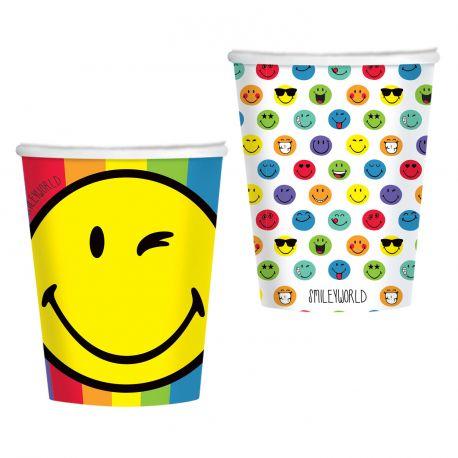 8 gobelets en carton à l'effigie des smileyworld pour votre déco de table d'anniversaireDimensions : 25cl