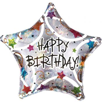 Ballon hélium Happy Birthday stars color irisé 43cm