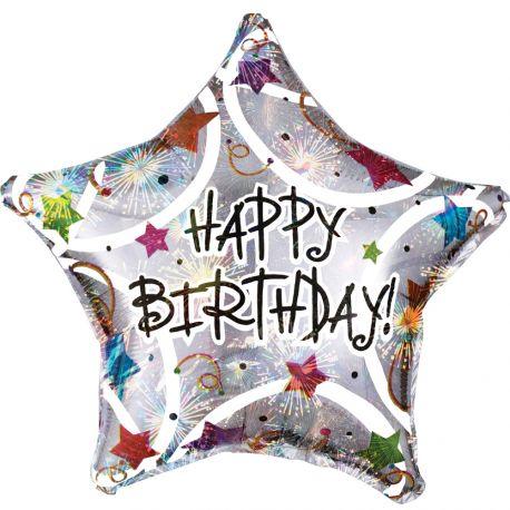 Superbe ballon hélium Happy Birthday en forme d'étoile couleur argent holographique pour une super déco d'anniversaireA gonfler avec...