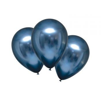 6 Ballons métal satin luxe bleu