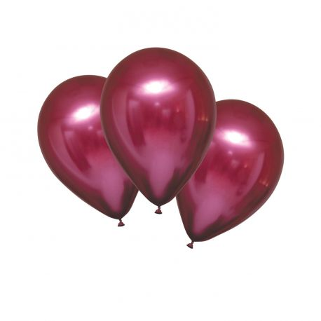 6 Ballons en latex satin métallisés de couleur rouge grenade, texture ultra tendanceØ 27.5cm