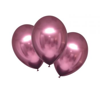 6 Ballons métal satin luxe rose flamingo