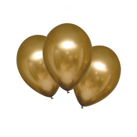 6 Ballons en latex satin métallisés de couleur or satiné, texture ultra tendanceØ 27.5cm