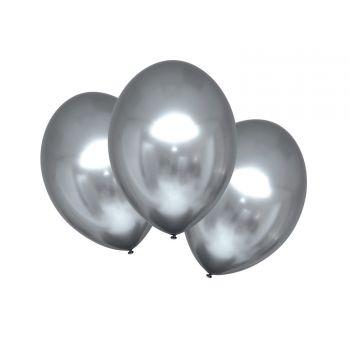 6 Ballons métal satin luxe argent