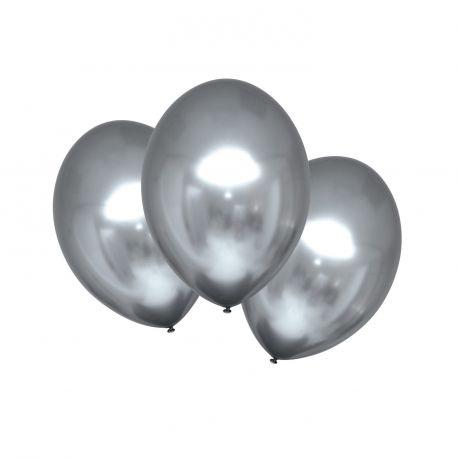 6 Ballons en latex satin métallisés de couleur argent, texture ultra tendanceØ 27.5cm