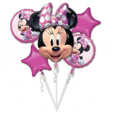 Bouquet de 5 ballons Minnie en aluminium pouvant être gonflés avec ou sans hélium (avec une paille) vendu sans tiges, ni ficelles.-...
