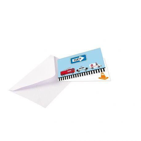 8 cartes d'invitations avec enveloppes pour décoration de table d'anniversaire sur la route pour les fans de véhicules