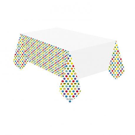 Nappe Smiley en papier pour décorer la table de vos anniversaires.Dimensions : 115 cm x 175 cm
