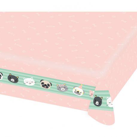 Nappe en papier pour décoration de table d'anniversaire thème hello petsDimensions : 115 x 175 cm