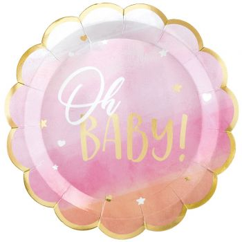8 assiettes carton Oh my baby rose