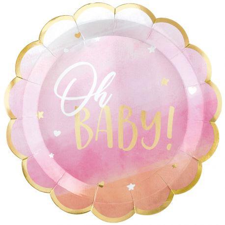 8 assiettes festonnés en carton décor Oh Baby de couleur rose et or pour une belle décoration de table de Baby...