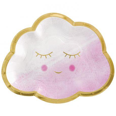 8 assiettes en forme de nuage en carton décor Oh Baby de couleur bleu et or pour une belle décoration de table de Baby...
