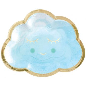 8 petites assiettes carton Oh my baby bleu nuage