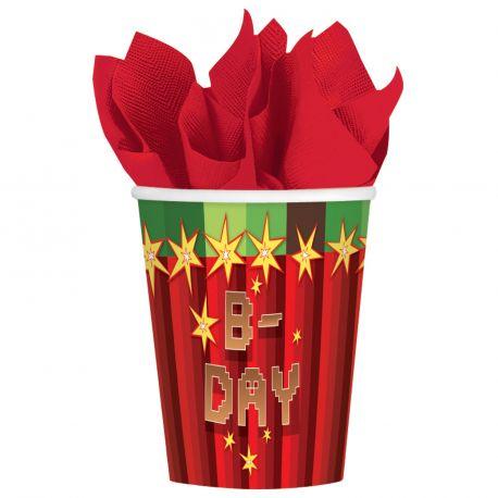 8 gobelets en carton pour une belle décoration d'anniversaire sur le thème jeux vidéo 26.6 cl