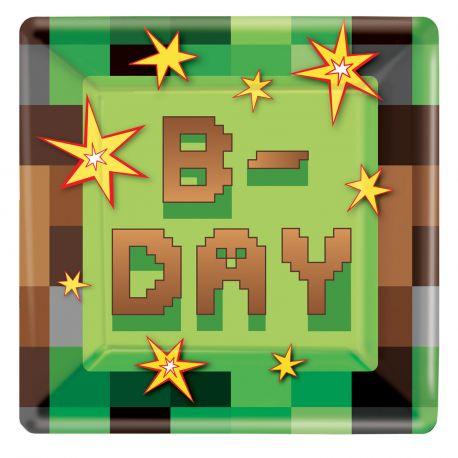 8 assiettes en carton pour une belle décoration d'anniversaire sur le thème jeux vidéo Dimensions : 23 x 23 cm